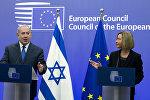 Премьер-министр Израиля Беньамин Нетаньяху во время совместной пресс-конференции с Верховным представителем Европейского союза Федерикой Могерини на заседании Совета ЕС в Брюсселе, 11 декабря 2017 года