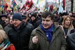 Бывший президент Грузии Михаил Саакашвили во время акции протеста в Киеве, Украина, 17 декабря 2017 года