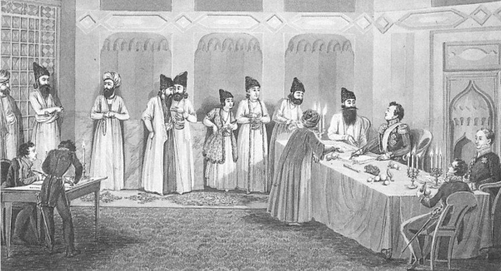 Türkmənçay müqaviləsinin imzalanma mərasimi, rəssam  Vladimir Moshkov