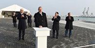 İlham Əliyev Bakı Beynəlxalq Dəniz Ticarət Limanı kompleksində RO-RO terminalının açılışında iştirak edib