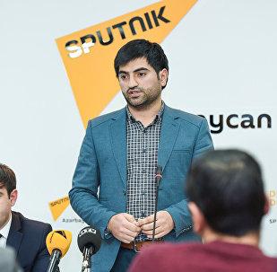 Учредитель телеканал OTV Вюгар Гусейнов на презентации нового проекта