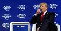 Президент США Дональд Трамп принимает участие в ежегодном совещании Всемирного экономического форума (ВЭФ) в Давосе, Швейцария 26 января 2018 год