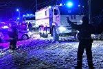 Автомобили МЧС России в Раменском районе Московской области, где самолет Ан-148 Саратовских авиалиний рейса 703 Москва-Орск потерпел крушение, 11 февраля 2018 года