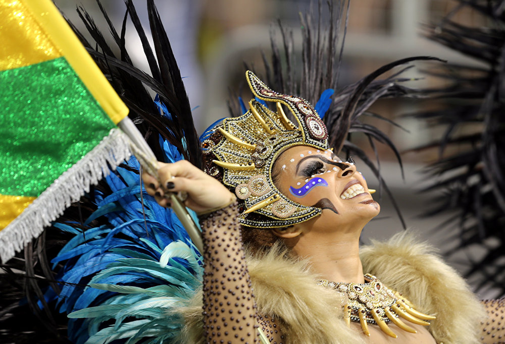 A reveller from the Peruche Samba School takes part in a carnival at Anhembi Sambadrome in Sao Paulo, February 10, 2018