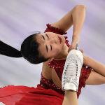 Японская фигуристка Каори Сакамото выступает в произвольной программе женского одиночного катания командных соревнований по фигурному катанию на XXIII зимних Олимпийских играх