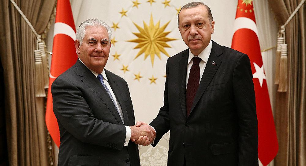 Встреча президента Турции Реджепа Тайипа Эрдогана и госсекретаря США Рекса Тиллерсона в Анкаре, 15 февраля 2018 года