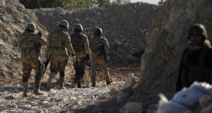 Поддерживаемые Турцией бойцы сирийской армии на горе Барсая, к северо-востоку от Африна, Сирия 28 января 2018 года