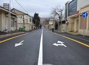 Отремонтированная дорога в Бинагадинском районе Баку