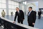 Президент Ильхам Алиев в Мингячевирской ГЭС, введенной в эксплуатацию после реконструкции