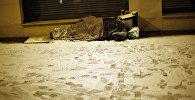 Parisdə küçədə yatan evsiz, fevral 2018-ci il