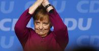 Канцлер Германии Ангела Меркель после выступления на партийном съезде Христианско-демократического союза в Германии в Берлине, Германия