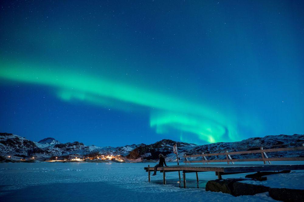 Северное сияние на Лофотенских островах в Норвегии