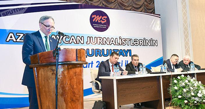 Əflatun Amaşovun Azərbaycan jurnalistlərinin VII qurultayında çıxışı
