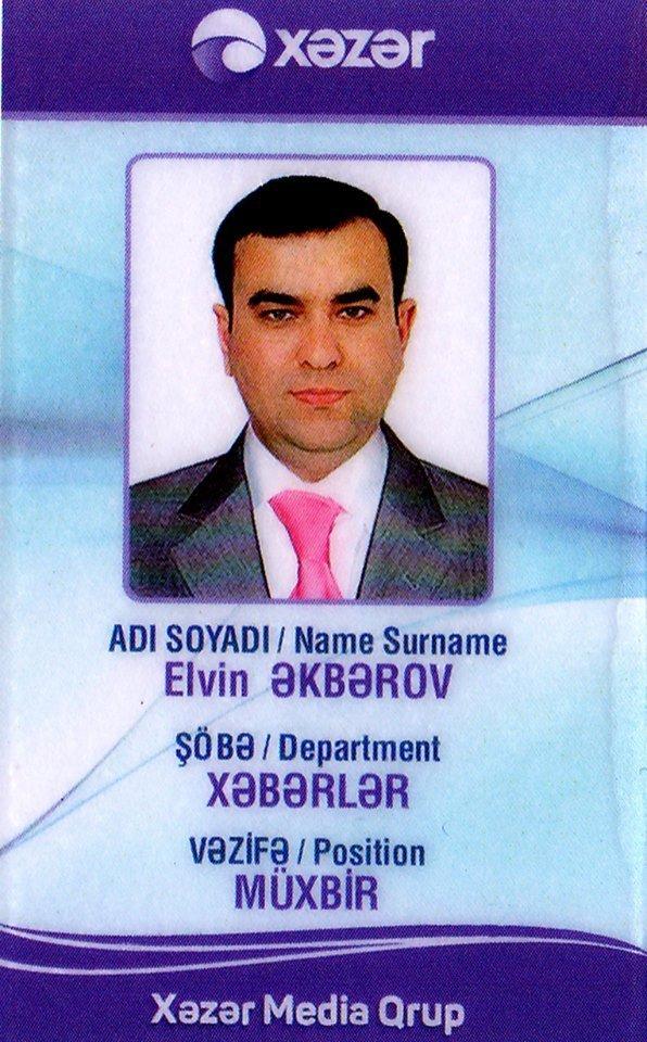 Elvin Əkbərovun vəsiqəsi