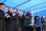 Церемония закладки фундамента здания Культурно-образовательного центра в молдавском городе Чадыр-Лунга