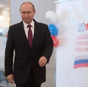 Президент РФ В. Путин принял участие в голосовании на выборах президента РФ