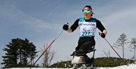 Российская биатлонистка и лыжница Марта Зайнуллина в ходе XII зимних Паралимпийских игр в Пхенчхане, 17 марта 2018 года