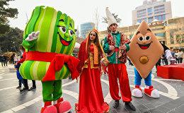 Празднование Новруз Байрамы в центре Баку