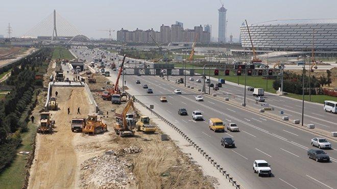 Строительство автомобильного тоннеля на проспекте Гейдара Алиева вблизи Бакинского олимпийского стадиона